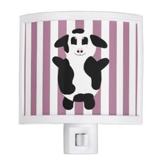 Cute Cartoon Cow Drawing with Stripes Night Light - drawing sketch design graphic draw personalize