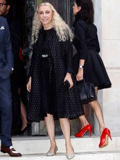 Les people au défilé Versace, le 7 juillet 2014, collection Haute-Couture Automne-Hiver 2014-2015 à Paris. Franca Sozzani