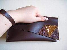 Brown Assymmetrical Leather Clutch by maycily on Etsy, $25.00