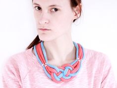 Sailor necklace in red and light blue with beads von ChezKristel, $45.00