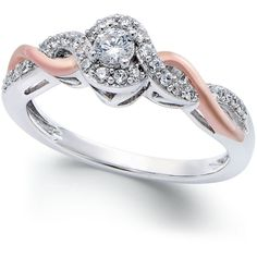 Diamond Twist Promise Ring (1/5 ct. t.w.) in Sterling Silver and 14k... ($270) ❤ liked on Polyvore