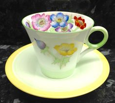 Shelley Regent Shape Anemone Bunch Pattern Coffee Cup & Saucer.