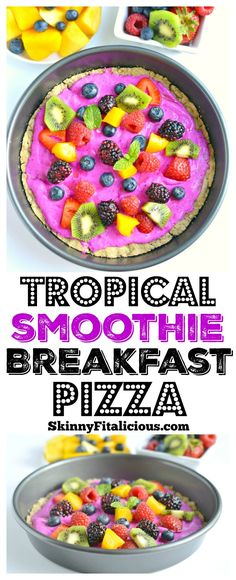 Tropical Smoothie Berry Breakfast Pizza made with a gluten free oat crust and topped with a Greek yogurt dragon fruitsmoothie and fresh fruit. A delicious breakfast or dessert for summer that's made in a blender! Gluten Free + Low Calorie