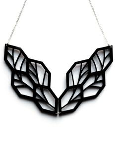 Black Leaf Necklace - in Laser Cut Acrylic