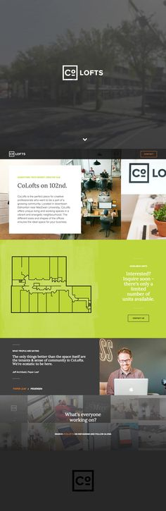 Responsive One Pager for 'CoLofts' - a unique living and coworking space based in Edmonton, a city in Alberta, Canada. The One Page website features typewriter effect introduction text, a floor plan and an Instagram Feed of pics the community is putting up.