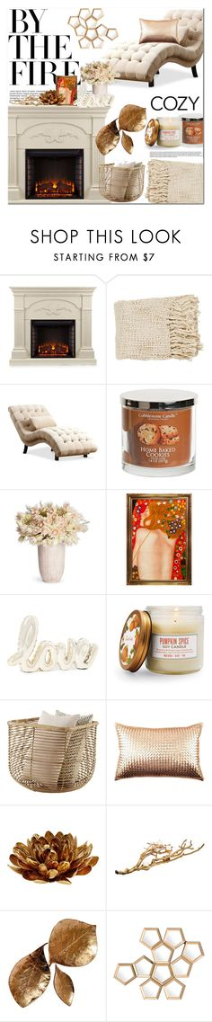 """""""By the Fire: Winter Fireplace"""" by anja-jovanovich ❤ liked on Polyvore featuring interior, interiors, interior design, home, home decor, interior decorating, Southern Enterprises, Sur La Table, AERIN and Home Essentials"""