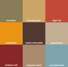 An assortment of colors available from Kohler's kitchen and bath collection during the 1970s