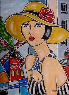 Online Auctions house Catawiki: Laurence Treizenem - Before th . - france levesque - - Online Auctions house Catawiki: Laurence Treizenem - Before th . Arte Pop, Painting Of Girl, Painting & Drawing, Tile Art, Mosaic Art, Art And Illustration, Art Original, Whimsical Art, Portrait Art