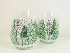 Stemless Wine Glasses Hand Painted Winter by PaintingByElaine