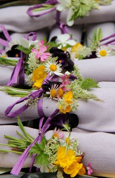 Easter table ideas ~ Detail of the beautiful napkin posies created by Ursula Maynard ~ Special Spring Brunch