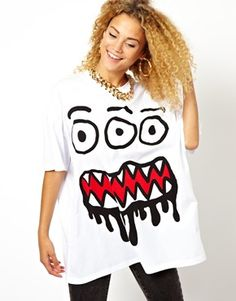 Image 1 of ASOS Massive T-Shirt with 3 Eyed Monster Print