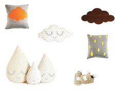 Thème nuages et gouttes :   Coussins et lampe nuage Ferm living, nuage et famille gouttes Zü, chaussons Easy Peasy.