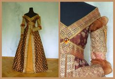 For this Renaissance dress we used brown gold brocade with golden edges woven into it. The glamorous gold-woven sleeves reprise the dress' ornament. Italian Renaissance Dress, Costume Renaissance, Medieval Costume, Renaissance Clothing, Renaissance Fashion, Medieval Dress, Historical Costume, Historical Clothing, Fantasy Dress