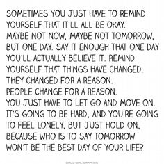 you have to hang on.  This is the best one I have read yet-Some days are still a little rough, but for the most part, it's much better.  I think I am almost there...
