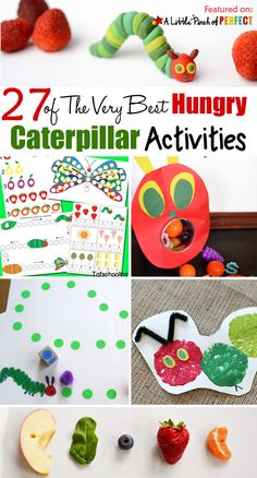 27 of The Very Best Hungry Caterpillar Activities for Kids: a helpful collection The Very Hungry Caterpillar Activities for Kids including crafts, activities, and free printables to go along with this beloved book by Eric Carle. Feed the caterpillar Very Hungry Caterpillar Printables, Hungry Caterpillar Craft, Bug Crafts, Preschool Activities, Book Activities, Toddler Activities, Toddler Crafts, Eric Carle, Chenille