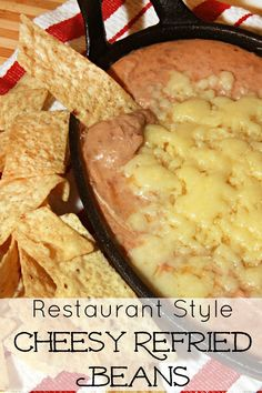 restaurant style Restaurant Style Cheesy Refried Beans - now you can make your favorite restaurant bean dip at home! Refried Beans Recipe Easy, Mexican Refried Beans, Refried Bean Dip, Canning Refried Beans, Restaurant Recipes, Mexican Restaurants, Mexican Bean Dip, Mexican Dishes, Dessert