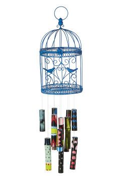 bird cage bamboo wind chime, crafts, repurposing upcycling, Use a birdcage as the base for a lovely windchime
