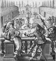 1629 etching from Le Jardin de la Noblesse Française... by Abraham Bosse (French, 1602–1676) Detail