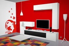 Neutral Living Room Colors, Red Living Room Decor, Living Room Wall Units, Living Room Orange, Room Wall Colors, Living Room Tv Unit Designs, Living Room Sofa Design, Bedroom Bed Design, Living Room Paint