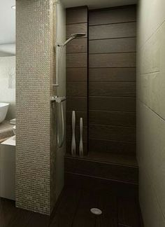 Shower to have the ceramic wood tile on the floor and back wall similar to this, with built-in bench. Mexican travertine domed tiles x - beige) on the walls. Flooring Tiles, Tile Floor, Wood Tile Shower, Half Bath Remodel, Built In Bench, Travertine, Bathroom Interior Design, Decoration, Master Bathroom