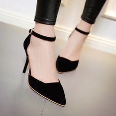 Fashion Womens Pointy Toe Mid Heels Stiletto Ankle Strap Hollow Pumps Shoes New High Heels Stilettos, Women's Pumps, Stiletto Heels, Modele Hijab, Club Shoes, Heels Outfits, Sneaker Heels, Sneakers, Boots
