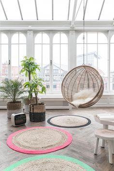 Hängesessel Ball - Naturell - Rattan - HK Living