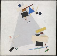 Suprematism: Kasimir Malevich, 'Dynamic Suprematism' Kazimir Malevich Dynamic Suprematism 1915 or 1916, Oil on canvas 803 x 800 mm. Characterised by basic geometric forms, such as circles, squares, lines and rectangles, painted in a limited range of colours.