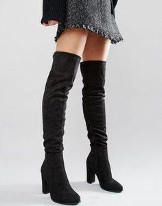 Daisy Street - Stivali neri sopra il ginocchio con tacco 39 Stivali Con  Zeppa 7e1b4cbc049