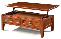 Alder McKenzie Lift Top Coffee Table on Castors in Glazed Antique Cherry Finish - 4 Finish Options