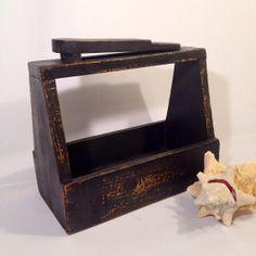 Black Shoe Shine Box Vintage Wooden Shoe Shine Box Rustic Home Decor Man Cave