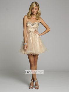2014 Style A-line Spaghetti Straps Rhinestone Sleeveless Short / Mini Tulle Cocktail Dresses / Homecoming Dresses - FabPartyDress.com