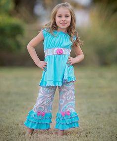 Look at this #zulilyfind! Bella Blue Tunic & Pants - Infant, Toddler & Girls #zulilyfinds