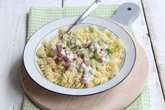 Romige pasta met hamblokjes en doperwten (+filmpje)