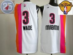2013 NBA Final Miami Floridians #3 Dwyane Wade White 25th Anniversary Jerseys