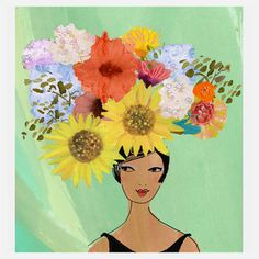 """Gayle Kabaker Romantic Prints Of Lovely Ladies """"Flowerhead 2"""" 16x20  now featured on Fab."""