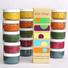Natural playdough! Eco-Dough is colored with fruit and vegetable dyes and scented with rosemary.