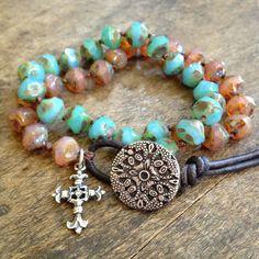 Rustic Cross Knotted Multi Wrap Bracelet by TwoSilverSisters