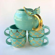 Black Cat Tea Set, Handmade Ceramic Tea Set by Naomi Singer, Modern Mud Ceramic Mermaid Mugs, Mermaid Mermaid, Tee Set, Cute Mugs, Cat Design, Ceramic Pottery, Ceramic Teapots, The Little Mermaid, Tea Time