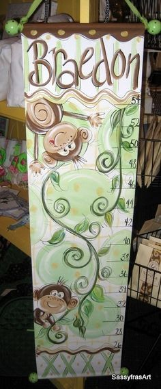Hand Painted Monkey Growth Chart by SassyfrasDesignz on Etsy, $59.99