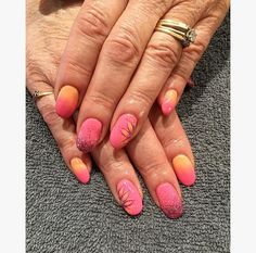Pink-And-Yellow-Fusion-Of-Flowers-And-Glitters-Summer-Art-For-Oval-Nails Pretty Gel Nails 2018 - Summer Nails Trends Nail Art pretty Gel Nails 2018 Simple Nail Art Designs, Gel Nail Designs, Easy Nail Art, Cool Nail Art, Pretty Gel Nails, Pretty Nail Art, Music Note Nails, Nail Art Design 2017, Nails Design