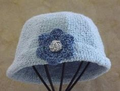 Crochet Womans Hat  Handmade  Vintage Style   Blue  by SophiesHats