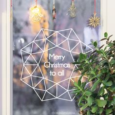 Wish your neighborhood a merry Christmas to all with the awesome himmeli wreath. Guaranteed to put a few smiles on their faces. Mini Chandelier, Merry Christmas To All, Window Decals, Work Inspiration, Ramen, Origami, Windows, Wreaths, Lettering