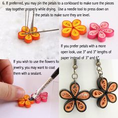 paper quilling flower earrings