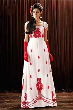 Georgette Designer Party Wear Gown in White Colour