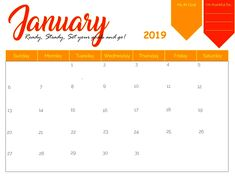 56 Best January 2019 Calendar Images