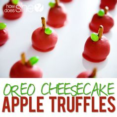 Oreo Cheesecake Truffles made to look like apples!