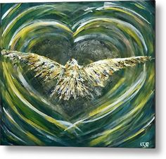 """Heart Shape Vortex: An acrylic painting of a bird flying into a vortex printed on to a 1/16"""" thick aluminium sheet to produce a high gloss effect by Kelly Goss Art. Mounted on a wooden frame and delivered """"ready to hang"""". Perfect to brighten up and decorate your home. Fit for any wall in any room. The special gift to spice up a friend's home decor. For a lover of animals, African wildlife and bird art."""