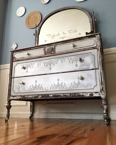 Farmhouse Glam by Rehab to Fab. The Old Fashioned Milk Paint Company & Iron Orchid Design stamp. Furniture Styles, Home Decor Furniture, Furniture Projects, Furniture Makeover, French Furniture, Pallet Projects, Furniture Design, Orchard Design, Country Cupboard