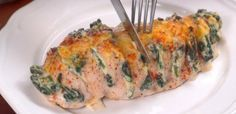 HasselbackChicken....add fresh garlic to the spinach mixture and topnotch bacon!
