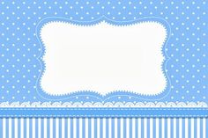 Poa y rayas azules - kit completo con los marcos para las invitaciones, las etiquetas de golosinas, souvenirs y fotos! | Hacer Nuestro parti...